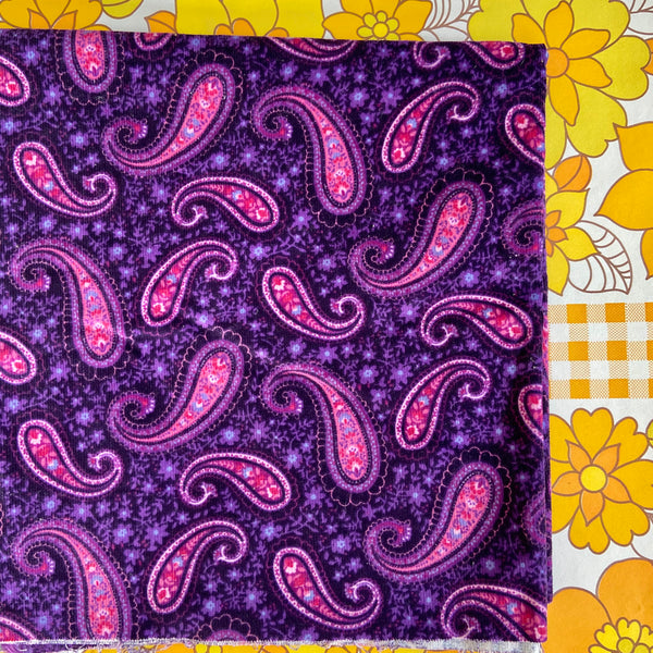 Cute Purple Vintage Cord FABRIC Paisley CRAFT Sewing