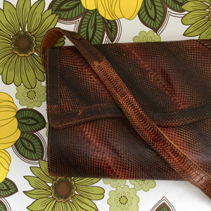 SNAKESKIN Vintage Handbag Nice Shape Great COLOUR 70's