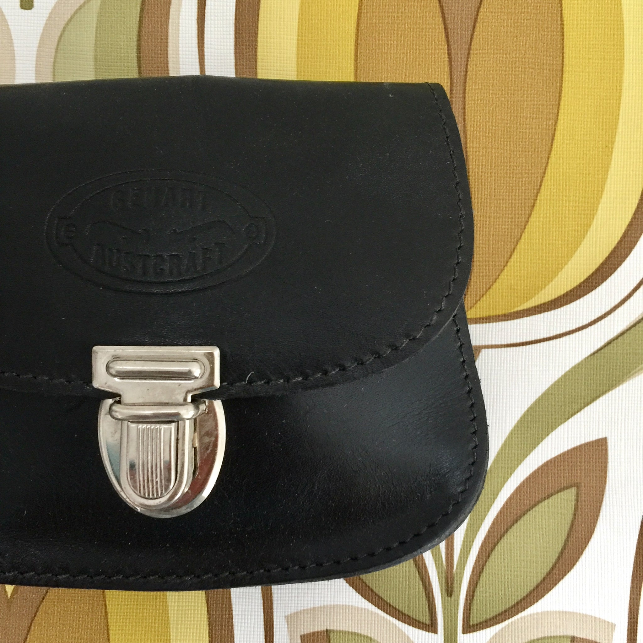 GENART AUSTCRAFT Genuine Leather Purse Handbag Mini Black Coin