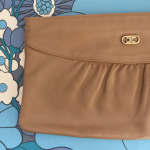 VINTAGE Genuine LEATHER Clutch Handbag Brown Tan 80's Style