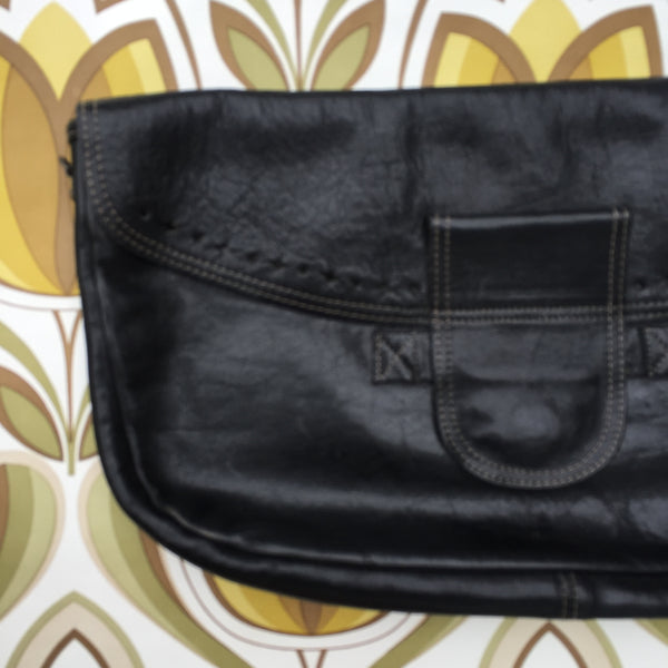 LARGE Leather Clutch Handbag Evening Clubbing Cocktail Cool Vintage Bag