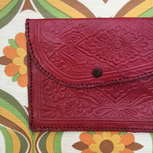 BOHO Genuine LEATHER Red Vintage Purse WALLET Hippy GYPSY