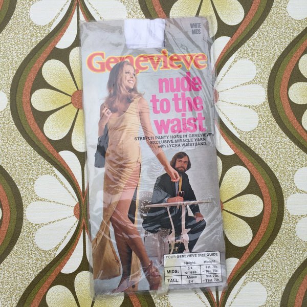 GENEVIEVE Nude to WAIST Tights Panty HOSE WHITE Vintage Mids