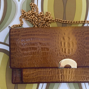 CUTE Little Evening BAG UNIQUE Style GOLD Chain Strap Brown TEXTURED