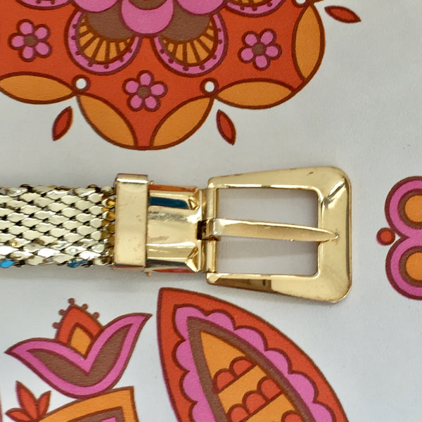WHITING & DAVIS Gold VINTAGE Belt COLLECTABLE Mesh Fashion AS NEW