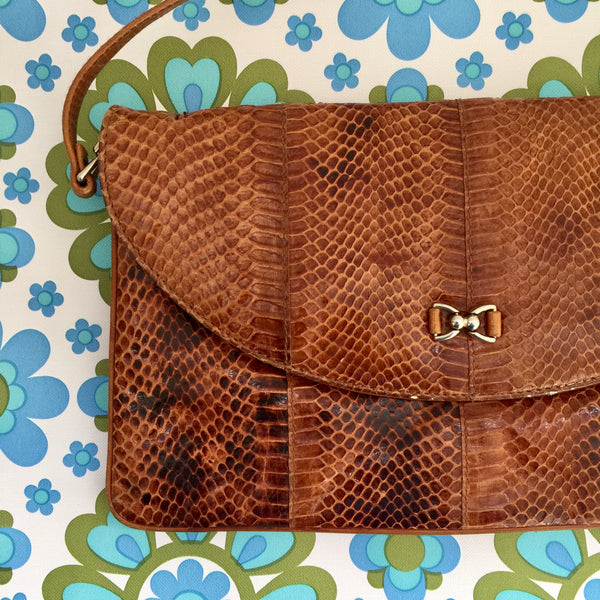 SNAKE SKIN Handbag Cute Textured Bag VINTAGE 70's FAB