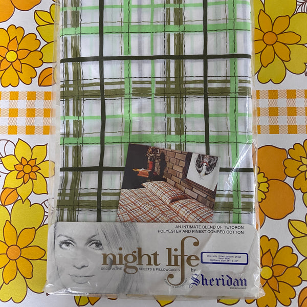 Bottom Sheet RETRO Sheridan Green Stripes FABRIC 70's