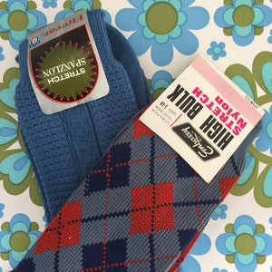 EMBASSY Vintage Socks PATTERN NYLON Size 5-10  COOL Retro