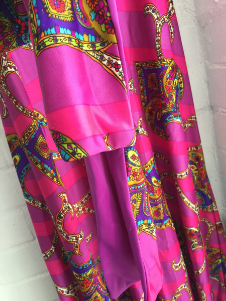 Vintage Teresa Ford Dress 70's Party MAXI Dress Bright Pink AMAZING Size 12