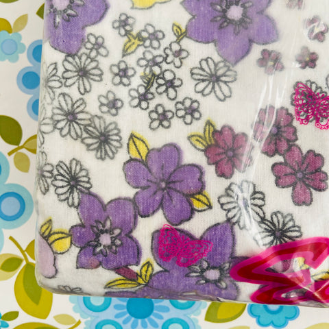 FABULOUS Retro Flannelette SHEETS UNUSED PURPLE Floral 70's