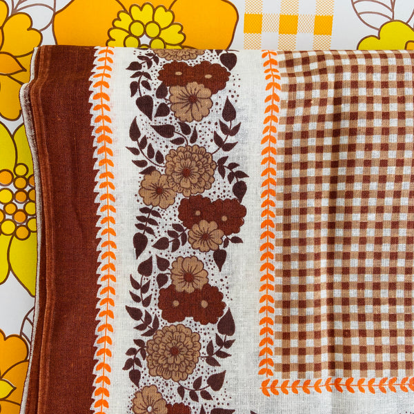 UNUSED Vintage cotton Table CLOTH Floral RETRO Home
