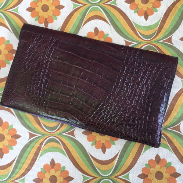 Leather Textured Clutch VINTAGE Unique Slightly Rustic Bag