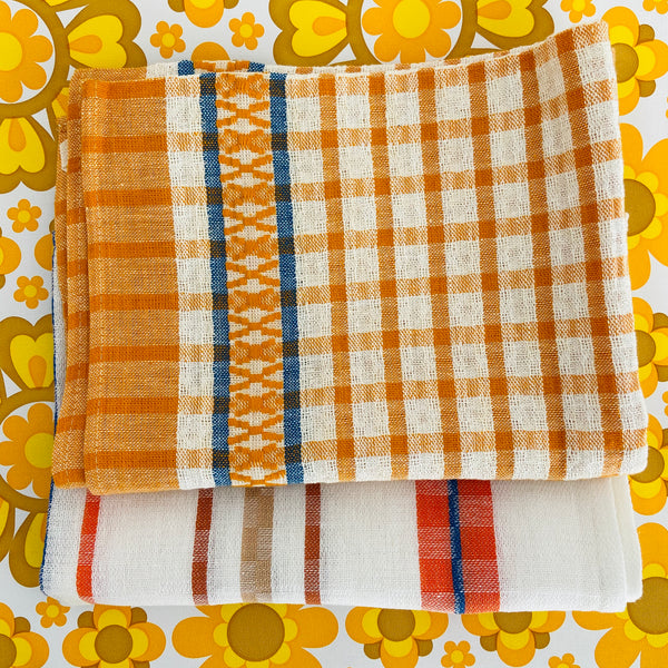 Cute PAIR of Tea Towels Checked RETRO HOME BRIGHT Unused