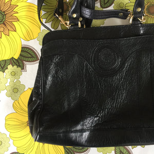 OGGI Domani Black Genuine LEATHER Vintage Handbag Lovely LINING Paisley
