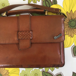 PARAGINI Tan Genuine LEATHER Handbag Old School