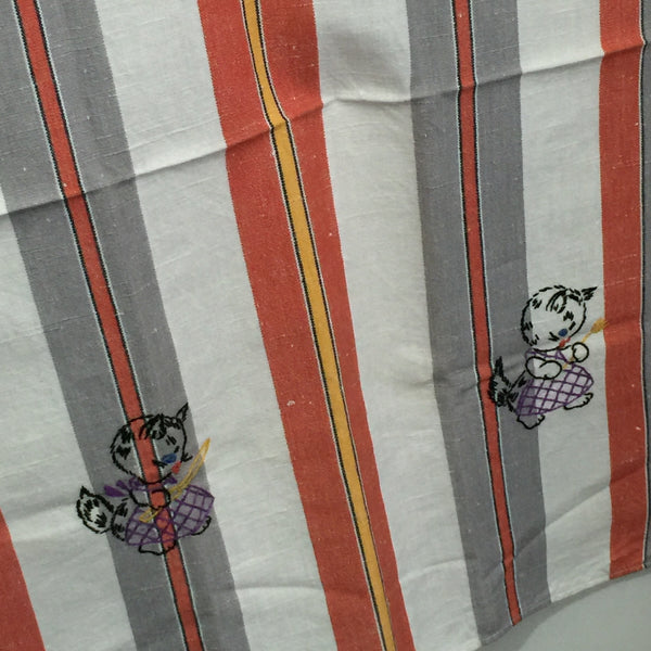 Vintage PAIR Embroidered Tea Towels Checked Stripes Pussy Cats