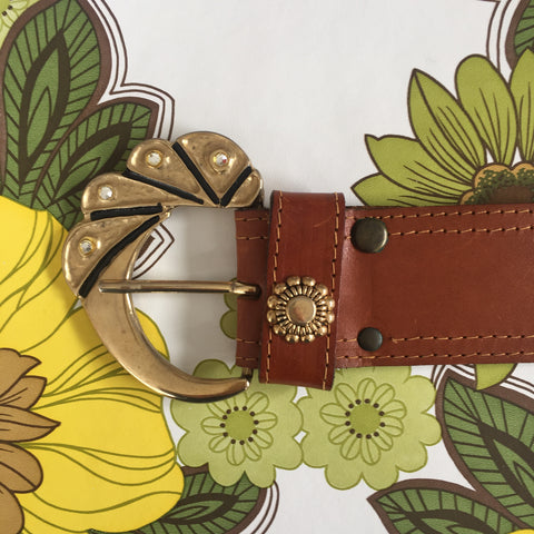 BOHO Vintage Hippy Chic Large BUCKLE LEATHER Belt