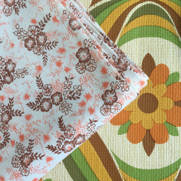 UNUSED Pair Vintage Floral COTTON Pillow CASES Pretty
