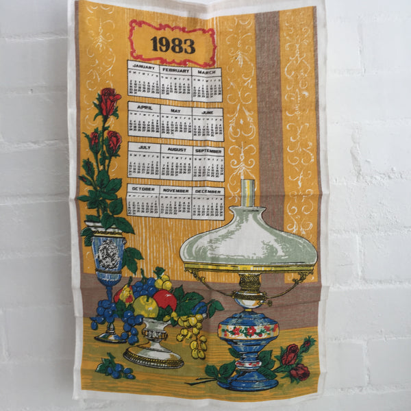 Tea Towel Floral Vintage UNUSED 1983 Collectable Calendar Born Cotton