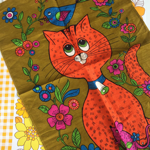 RETRO Teal Towel LINEN Cat Bird Flowers WALL HANGING