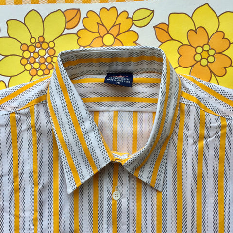 Mens Vintage UNWORN Shirt Size 39 De Capo Yellow Stripes