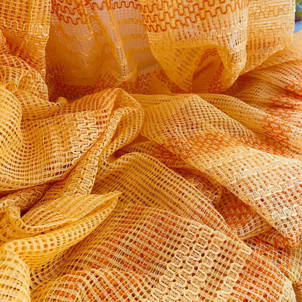 ORANGE As NEW Mid Century NET Curtains Wide & Long RETRO 70's HOME