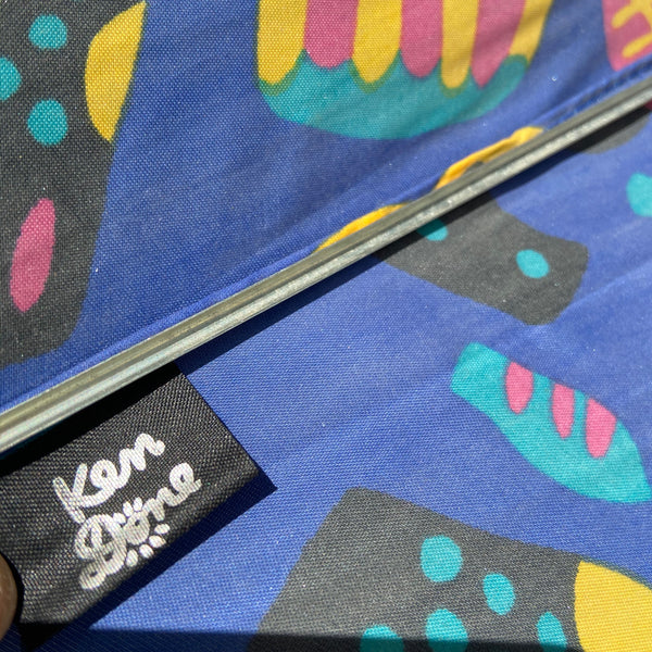 Fabulous RARE Vintage 80s KEN DONE Aussie PRINT Colourful NYLON Umbrella