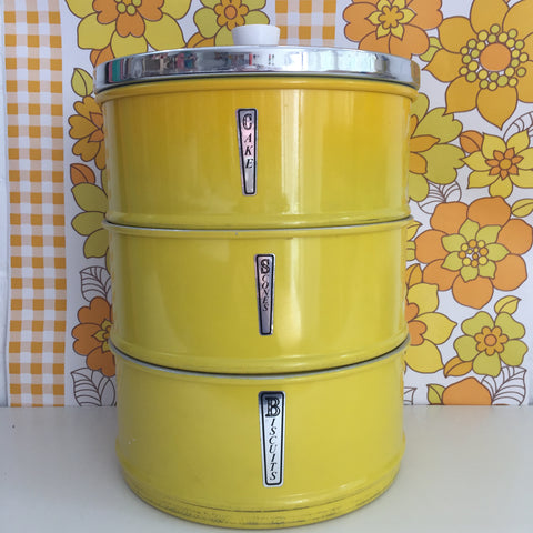 Yellow RETRO Vintage Anodised Aluminium Cannister's KITSCH