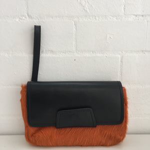 MARCS Faux FUR Orange Clutch Purse Handbag COOL