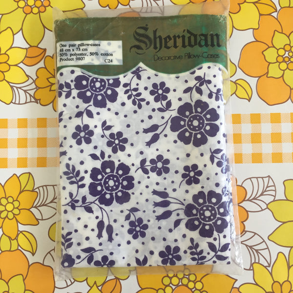 Vintage Sheridan Pillow CASES Retro Floral Cotton PAIR
