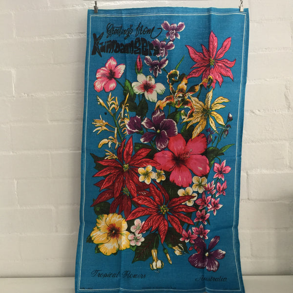 Tropical FLOWERS Linen Tea Towel Collectable Souvenir