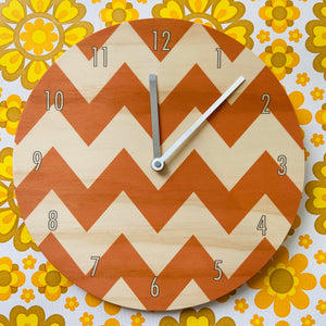 Orange Chevron Wall Clock Made with Pine