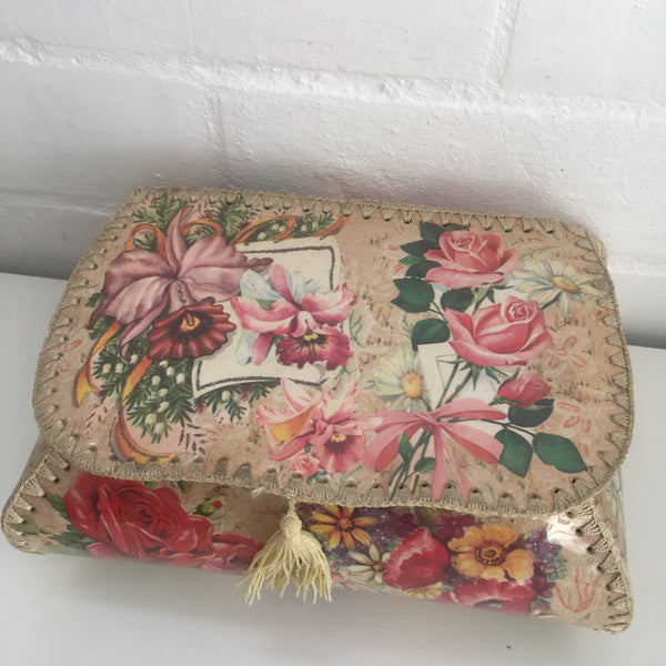 Vintage 50's Greeting Card Box Sewing Hankies Floral
