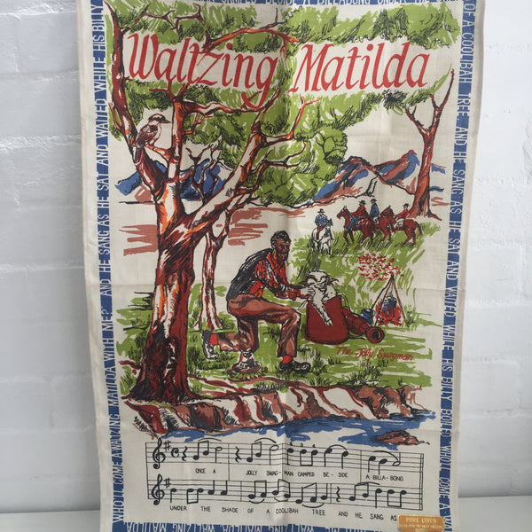 Made in Poland Linen Tea Towel Waltzing Matilda SOUVENIR