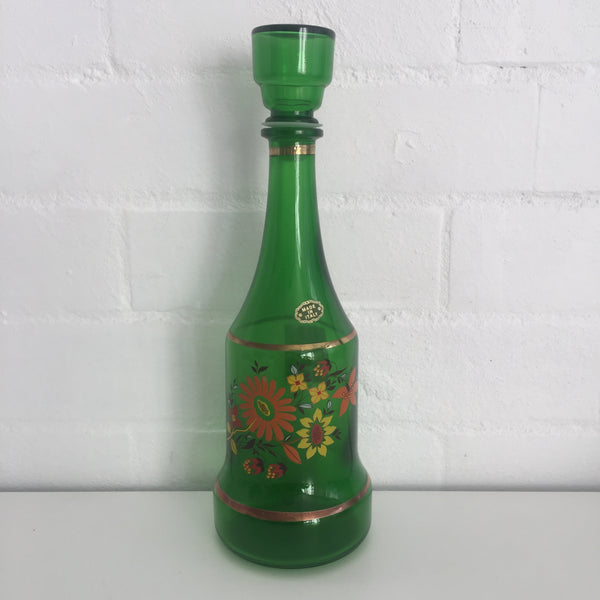 ANTIQUE Vintage Decanter Made in Italy Green Glass Floral