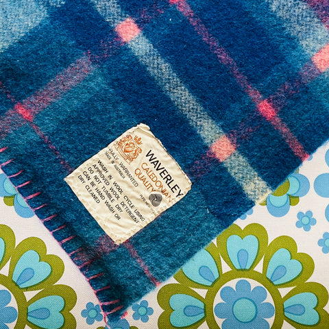 Waverley BLANKET Unused Perfect Blues with Pink ADORABLE