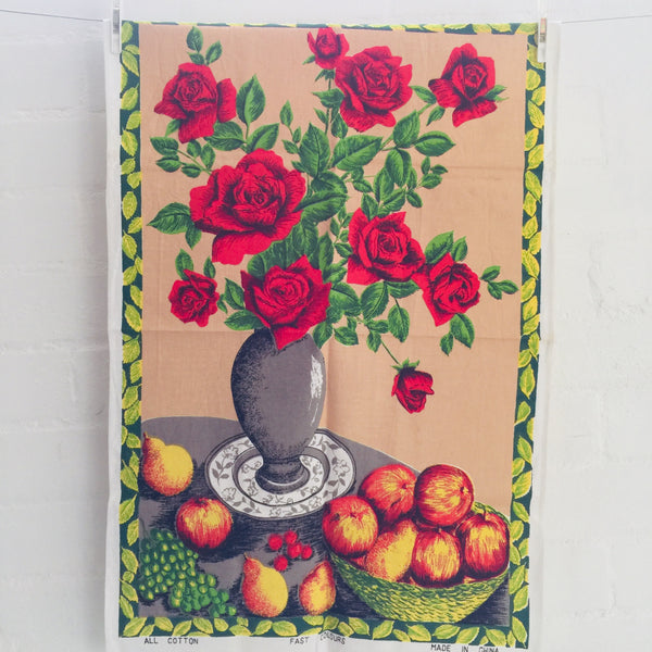 Cotton Vintage RETRO Print Tea Towel 70's Floral
