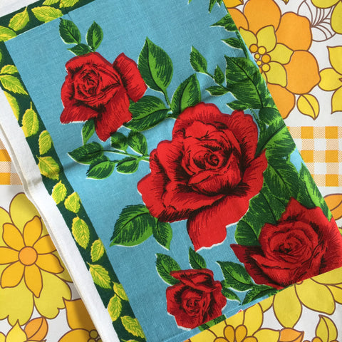 Vintage Retro TEA TOWEL Floral Print Fabric BrIGHT Kitchen