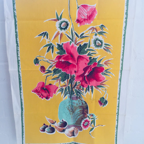 RETRO Print Craft TEA Towel Floral ALL COTTON Vintage