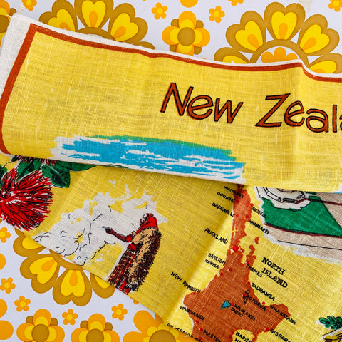 NEW Zealand Tea Towel Linen Fast Colours RETRO