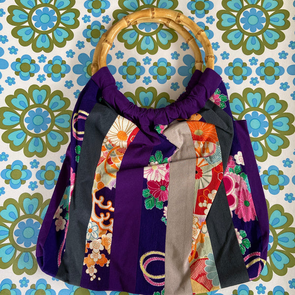 Cute Patchwork Bag HANDMADE Cane Handles ASIAN Inspired