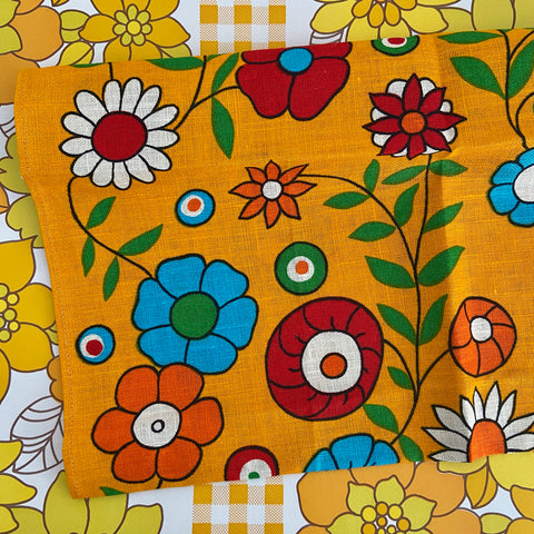 Pure LINEN Unused Tea Towel FABULOUS BRIGHT FLORAL PRINT!!!
