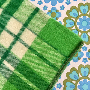 # 2 Pure Wool RETRO Green Blanket Bedspread Craft Sewing Vintage Home