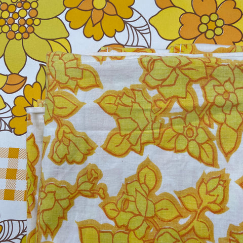 Cute Vintage Cotton SHEET Yellow Fabric Sewing CRAFT Bright