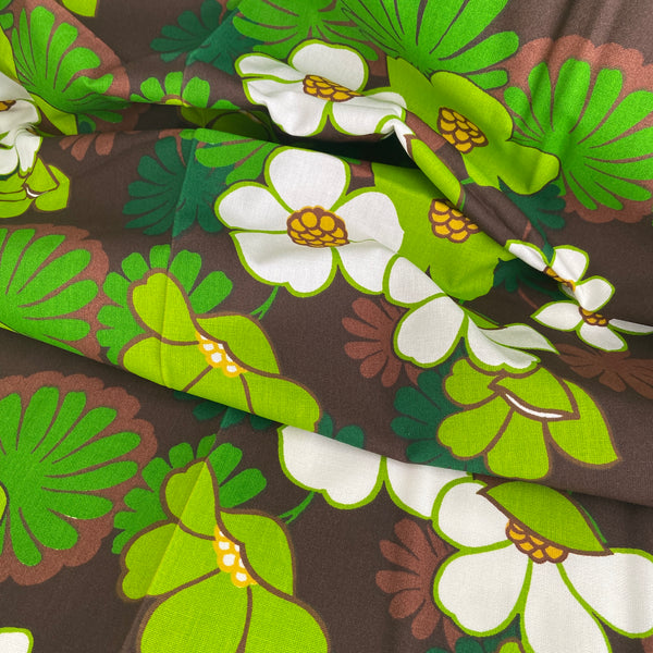 Vintage European Floral Fabric AMAZING Large Bold FLORAL PRINT Cotton
