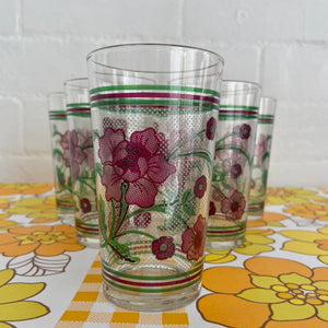 ADORABLE Vintage Floral GLASSES Set of SIX