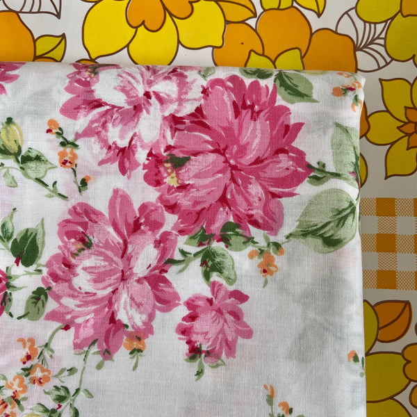 Beautiful Pink Floral UNUSED Sheet Cotton Quilting Sewing