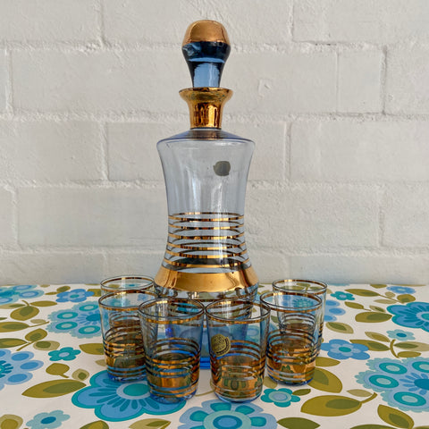 BOHEMIA Vintage Decanter Set Blue Mid Century PORT Glasses