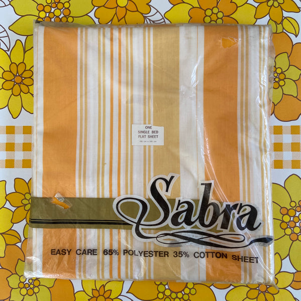 Cotton Blend SHEET Flat Fabric Stripes Apricot UNUSED in Packet