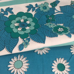 UNUSED All Cotton VINTAGE Table Cloth Floral RETRO